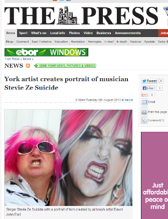 YORK ARTIST CREATES PORTRAIT OF MUSICIAN STEVIE ZESUICIDE