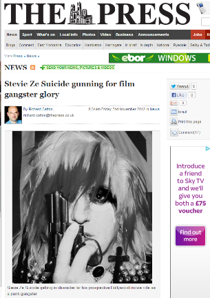 STEVIE ZESUICIDE GUNNING FOR FILM GANGSTER GLORY